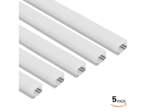 5 PACK 1M/3.3ft U-Shape Aluminum Channel - LED Aluminum Extrusion for Recessed/Suface Mounted with flex/hard LED Strip Light w/Oyster White cover-U06