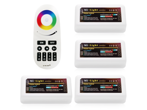 WiFi Compatible RGB+White Controller Kit: 4pcs RGBW Multi Zone Controllers + RF Remote - 4-zone RGBW LED Controller - Compatible with Smartphone/Tablet PC (Hub not included)