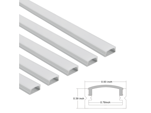 5-PACK 3.3ft U-Shape Aluminum Channel - LED Aluminum Extrusion for Recessed/Suface Mounted with flex/hard LED Strip Light w/Oyster White cover-U07