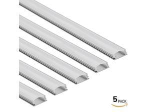 5 PACK 1M/3.3ft U-Shape Aluminum Channel - LED Aluminum Extrusion for flex/hard LED Strip Light w/Oyster White cover-U02