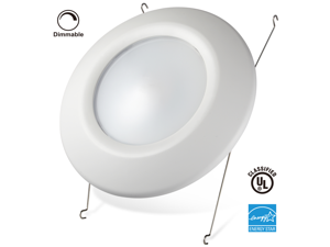 "13W Dimmable Retrofit LED Surface & Recessed Lighting Fixture - Fits 4"", 5"", 6"" Can and 4"", 5"" J-box - 85W Equivalent Energy Star & UL-classified LED Downlight Disk Light 5000K Daylight"