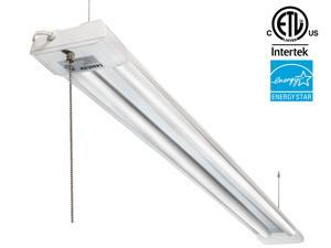 4ft 40W LED Utility Shop Light, 4000lm 120W Equivalent ENERGY STAR & ETL Listed, Double Integrated LED Fixture, 5000K Daylight Ceiling Light Pull Cord Switch, Garage/Basement/Workshop