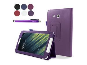 SAVFY Samsung Galaxy Tab 3 Lite 7 Tablet Case with Free stylus pen - Flip Stand Cover Case for Tab 3 Lite 7.0 inch, SM-T110 - Purple