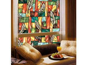 Fancy-Fix Non Adhasive Feather Stained Glass Window Film 0.9*2M (34.4in*78.74in)G002