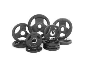 XMark Fitness Premium Quality Rubber Coated Tri-grip Olympic Plate Weights - Sold in Sets