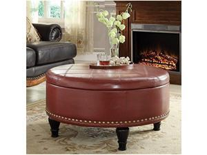 Augusta storage Ottoman Crimson Red Bonded Leather
