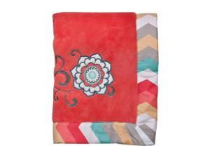 Waverly Pom Pom Play Embroidered Coral Fleece Baby Blanket