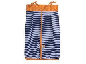 Navy Blue Stripe/Orange Dot Diaper Stacker