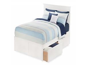 Nantucket Full Flat Panel Foot Board w/ 2 Urban Bed Drawers White