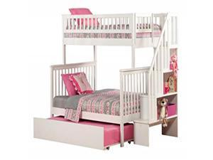 Woodland Staircase Bunk Bed Twin over Full with Urban Trundle Bed in White