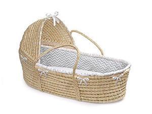 Natural Hooded Moses Basket - Gray Chevron Bedding