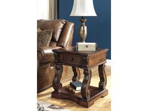 Square End Table Rustic Brown