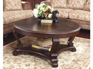 Round Cocktail Table Dark Brown