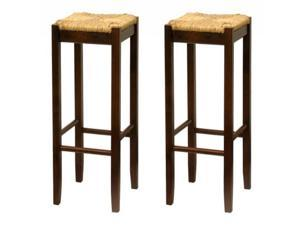 Set of 2, Rush Seat 24 Inches Stool, Assembled