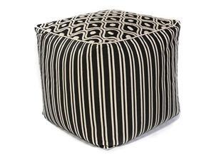 F808 Black & White Groove 18 Inches by 18 Inches by 18 Inches Pouf size - 18 Inches by 18 Inches by 18 Inches