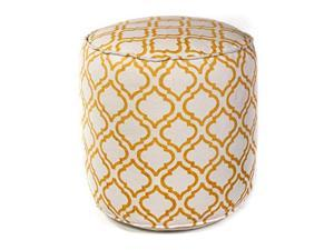 F830 Ivory/Yellow Arabesque 18 Inches by 18 Inches by 18 Inches Pouf size - 18 Inches by 18 Inches by 18 Inches