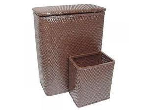 Chelsea Collection Hamper with Matching Square Wastebasket ESPRESSO