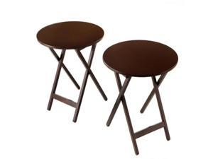"Round Folding Bistro Tray Table 19.75"" Diameter  - 2 Pack - Espresso"
