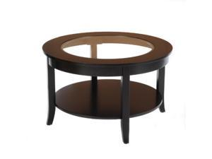 "30"" Glass Top Round Coffee Table - Black"