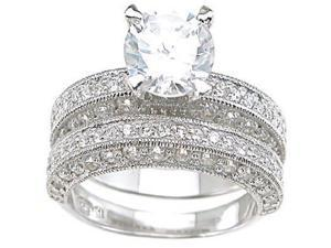 Plutus Sterling Silver Rhodium Finish CZ Antique Style Wedding Set Ring