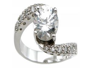 Plutus Sterling Silver Rhodium Finish CZ Brilliant Solitaire Engagement Ring