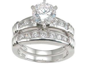 Plutus Sterling Silver Rhodium Finish CZ Fashion Engagement Set Ring
