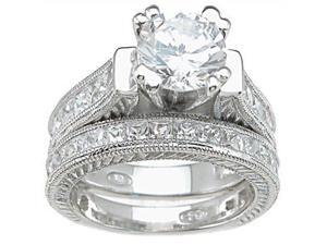 Plutus Sterling Silver Rhodium Finish CZ Princess Wedding Set Ring