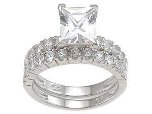 Plutus Sterling Silver Rhodium Finish CZ Princess Engagement Set Ring