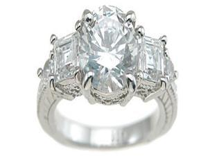 Plutus Sterling Silver Rhodium Finish CZ Princess Antique Style Engagement Ring