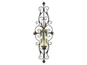 Mtl Gls Cndl Sconce 37 Inches Height,13 Inches Width