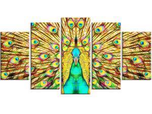 Flashy Feathers - Peacock Canvas Art #PT2414