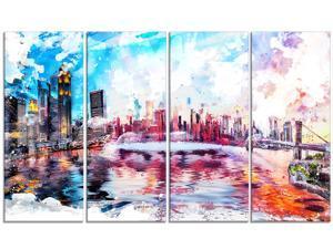Colorful San francisco Canvas Art - - 48x28 - 4 piece