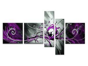 Abstract Purple Oil Painting - 64 x 32in