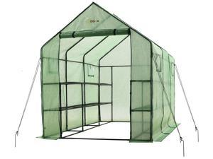 """Ogrow Very Spacious And Sturdy Walk-in 2 Tier 12 Shelf portable Garden Greenhouse with windows - Measures 117"""" L x 67"""" W x 83"""" H"""