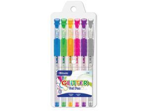 BAZIC 6 Glitter Color Gel Pen w/ Cushion Grip