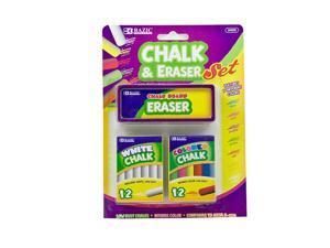 BAZIC 12 Color & 12 White Chalk w/ Eraser Set