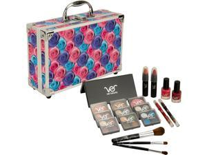 Multicolor Floral 20pcs Makeup Gift Set with Aluminum Case and Mirror - VMK1102