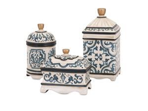 Beth Kushnick Hand-painted Ceramic Boxes - Set of 3