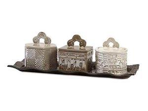 Zeller Lidded Boxes With Tray - Set of 4