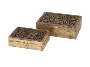 Mazie Carved Wood Boxes - Set of 2