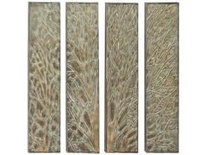 Mtl Wall Decor Set Of 4, 12 Inches Width, 36 Inches Height