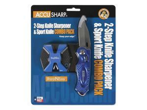 Accusharp SharpNEasy 2-Step Sharpener & Sport Knife - Blue