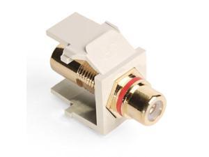 Leviton QuickPort RCA Snap-In Connector (Gold-Plated), Red Stripe, Light Almond