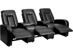 Eclipse Series 3-Seat Power Reclining Black Leather Theater Seating Unit with Cup Holders