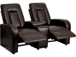 Eclipse Series 2-Seat Power Reclining Brown Leather Theater Seating Unit with Cup Holders