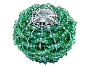 Bollywood 2 in. Aqua & Silver Large Beaded Weave Round Knob