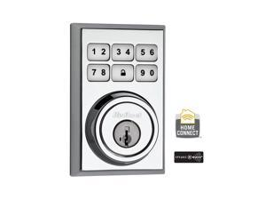 Z-Wave Contemporary Single Cylinder Polished Chrome SmartCode Electronic Deadbolt Featuring SmartKey