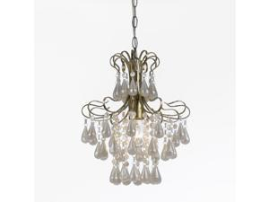 Tiffany White Pearl Mini Chandelier, 1-60W Standard Bulb, 14 HX12 D