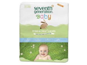 Free & Clear Baby Wipes Refill Unscented White 256/Pack