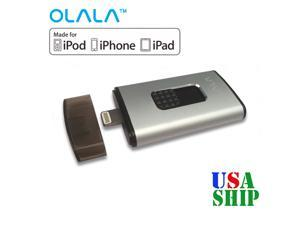 OLALA 32GB USB 3.0 Flash Drive Mobile Disk with Lightning Connector for iPhone 6s iPhone 6s Plus iPhone 6 iPhone 6 Plus SE 5s 5c 5, iPad Air 2 mini and More - Silver